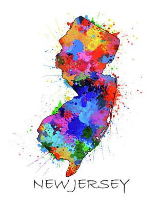 New Jersey Map Digital Art - New Jersey Map Color Splatter by Bekim Art
