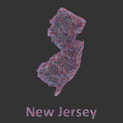 New Jersey Drawing - New Jersey Map by David Zydd
