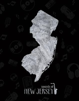 New Jersey Map Digital Art - New Jersey Map Music Notes 2 by Bekim Art
