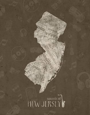 New Jersey Map Digital Art - New Jersey Map Music Notes 3 by Bekim Art