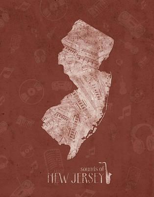 New Jersey Map Digital Art - New Jersey Map Music Notes 4 by Bekim Art