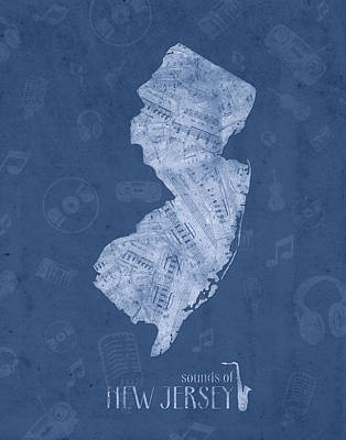 New Jersey Map Digital Art - New Jersey Map Music Notes 5 by Bekim Art