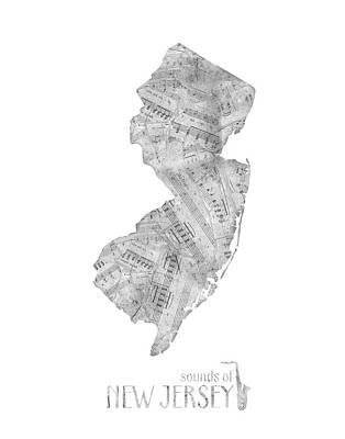 New Jersey Map Digital Art - New Jersey Map Music Notes  by Bekim Art