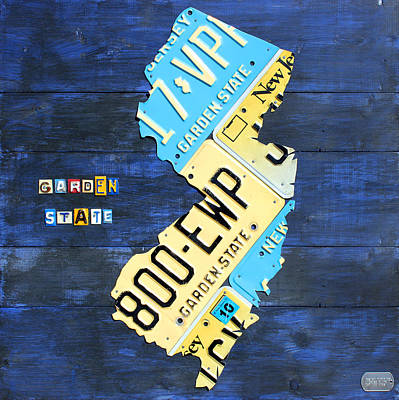 New Jersey Map Vintage Recycled State License Plate Art Original
