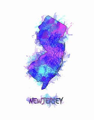 New Jersey Map Digital Art - New Jersey Map Watercolor 2 by Bekim Art
