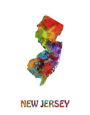 New Jersey Map Digital Art - New Jersey Map Watercolor by Bekim Art