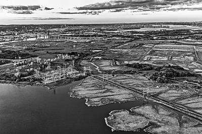 Photograph - Staten Island Ny Aerial View Bw by Susan Candelario