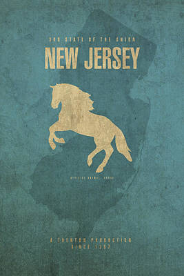 Nj Mixed Media - New Jersey State Facts Minimalist Movie Poster Art by Design Turnpike