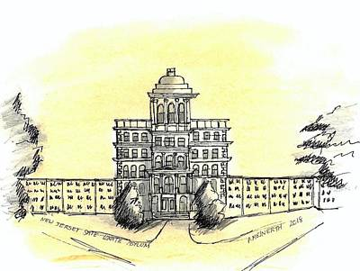 Drawing - New Jersey State Lunatic Asylum by Paul Meinerth