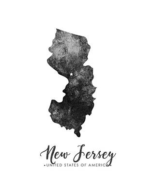 New Jersey Map Mixed Media - New Jersey State Map Art - Grunge Silhouette by Studio Grafiikka
