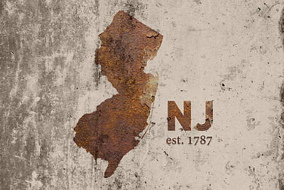 New Jersey State Map Industrial Rusted Metal On Cement Wall With Founding Date Series 026 Art Print by Design Turnpike