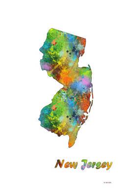Nj Digital Art - New Jersey State Map by Marlene Watson