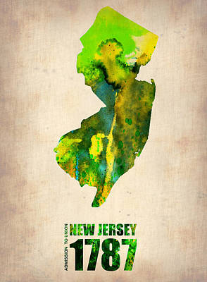 Us State Map Digital Art - New Jersey Watercolor Map by Naxart Studio