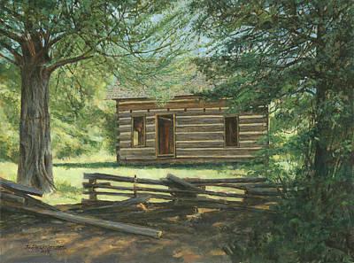 New Log Cabin Art Print by Don  Langeneckert