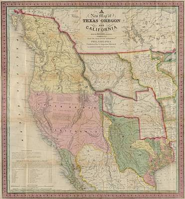 Photograph - New Map Texas, Oregon, California Public Domain, 1846 by Robert Rhoads