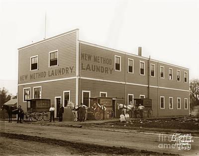 Photograph - New Method Laundry Stockton Calif. Logan Photo 1890 by California Views Archives Mr Pat Hathaway Archives