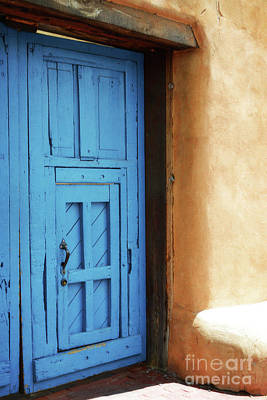 Photograph - New Mexico Adobe Blue Door Landscape by Andrea Hazel Ihlefeld
