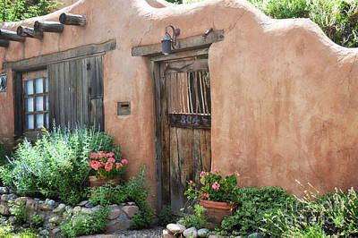 Photograph - New Mexico Adobe Wooden Door Landscape by Andrea Hazel Ihlefeld