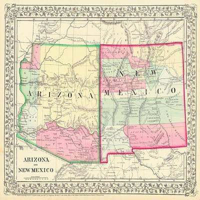 New Mexico Mixed Media - New Mexico And Arizona Map Print From 1867 by Marianna Mills