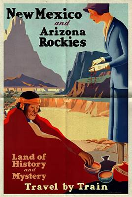 Mixed Media - New Mexico And Arizona Rockies - Folded by Vintage Advertising Posters
