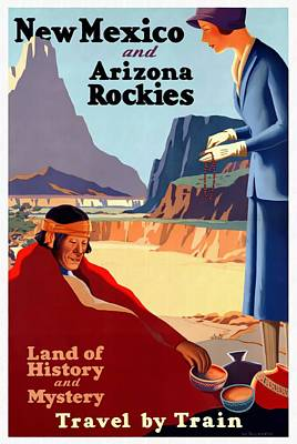Mixed Media - New Mexico And Arizona Rockies - Restored by Vintage Advertising Posters