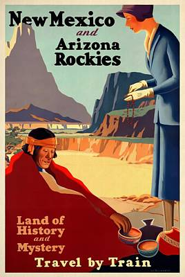 Mixed Media - New Mexico And Arizona Rockies - Vintagelized by Vintage Advertising Posters