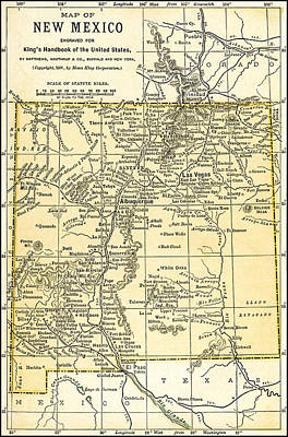 Photograph - New Mexico Territory Antique Map 1891 by Phil Cardamone