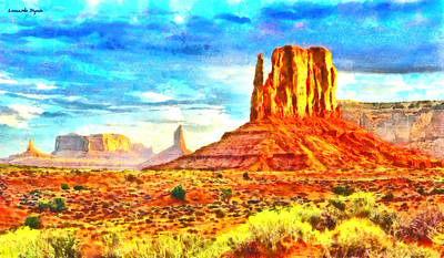 Valleys Digital Art - New Mexico Beautiful Desert - Da by Leonardo Digenio