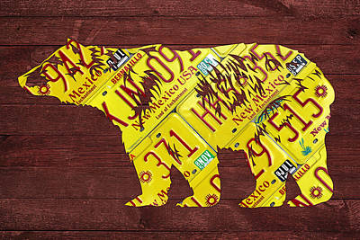 Bear Mixed Media - New Mexico Black Bear Official State Animal Shape Recycled License Plate Art Series Number 004 by Design Turnpike