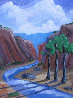 Chama River Painting - New Mexico Canyon by David Delaney