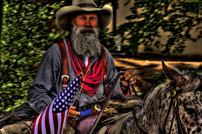 Old Glory Photograph - New Mexico Cowboy by David Patterson
