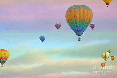 Photograph - New Mexico Dreamy Cloud Balloons Landscape by Andrea Hazel Ihlefeld