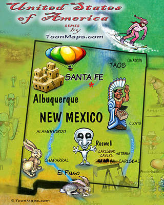 American Milestones - New Mexico Fun Map by Kevin Middleton