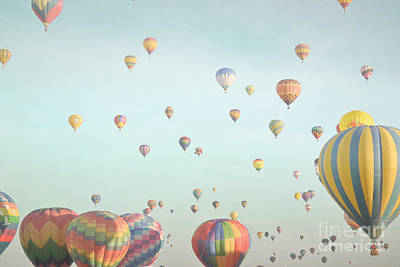 Photograph - New Mexico Hot Air Balloons Colorful Sky Landcape by Andrea Hazel Ihlefeld