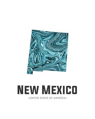New Mexico Mixed Media - New Mexico Map Art Abstract In Blue by Studio Grafiikka