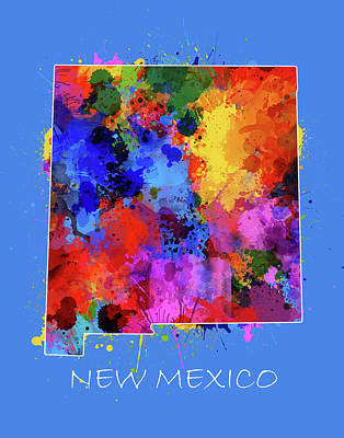 Abstract Map Digital Art - New Mexico Map Color Splatter 3 by Bekim Art