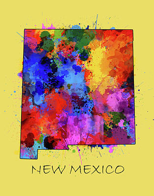 Abstract Map Digital Art - New Mexico Map Color Splatter 4 by Bekim Art
