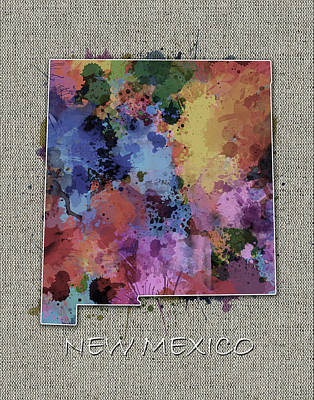 Abstract Map Digital Art - New Mexico Map Color Splatter 5 by Bekim Art