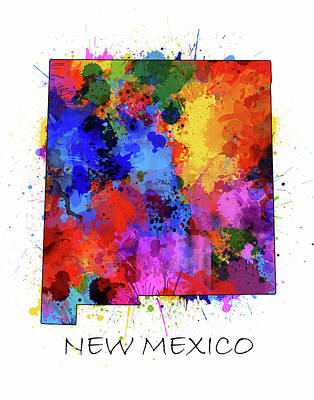 Abstract Map Digital Art - New Mexico Map Color Splatter  by Bekim Art