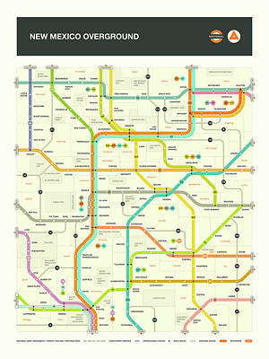 London Tube Digital Art - New Mexico Map by Jazzberry Blue