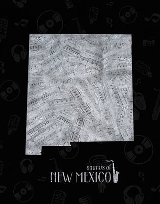 Jazz Royalty Free Images - New Mexico Map Music Notes 2 Royalty-Free Image by Bekim M