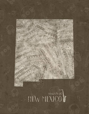 Jazz Royalty-Free and Rights-Managed Images - New Mexico Map Music Notes 3 by Bekim Art
