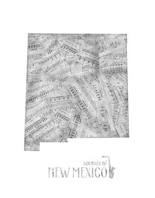 Jazz Royalty-Free and Rights-Managed Images - New Mexico Map Music Notes by Bekim Art