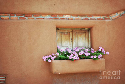 Photograph - New Mexico Pink Flowers Window by Andrea Hazel Ihlefeld