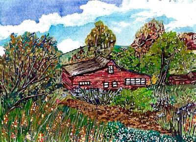 Pen And Ink Of Barn Painting - New Mexico Red House  by M E Wood