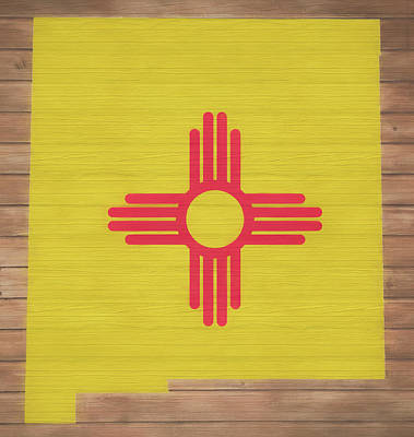 Mixed Media - New Mexico Rustic Map On Wood by Dan Sproul