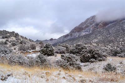 Photograph - New Mexico Sandia Mountains Desert Snow Landscape by Andrea Hazel Ihlefeld