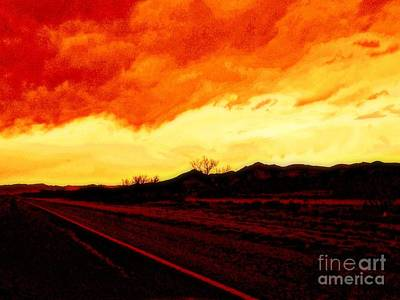 Photograph - Sunset In New Mexico Southwest Fire In The Sky by Michael Hoard