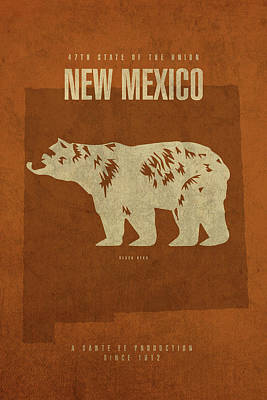 State Of New Mexico Mixed Media - New Mexico State Facts Minimalist Movie Poster Art by Design Turnpike