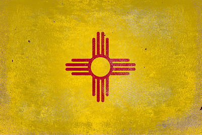 Digital Art - New Mexico State Flag On Worn Background Surface by Steven Green